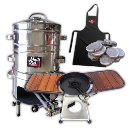 MultiKai 3 Basket Cooker with Trolley and Wooden Side Benches 3 Basket Cooker-Trolley&Wooden Side Benches