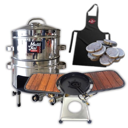 MultiKai 2 Basket Cooker with Trolley and Wooden Side Benches 2 Basket Cooker-Trolley&Wooden Side Benches