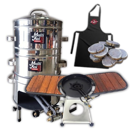 MultiKai 4 Basket Cooker with Trolley and Wooden Side Benches 4 Basket Cooker-Trolley&Wooden Side Benches